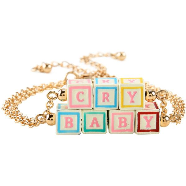 Hot Topic Melanie Martinez Cry Baby Blocks Bracelet Set (69 NOK) ❤ liked on Polyvore featuring jewelry, bracelets, accessories, multi, gold tone jewelry and chains jewelry