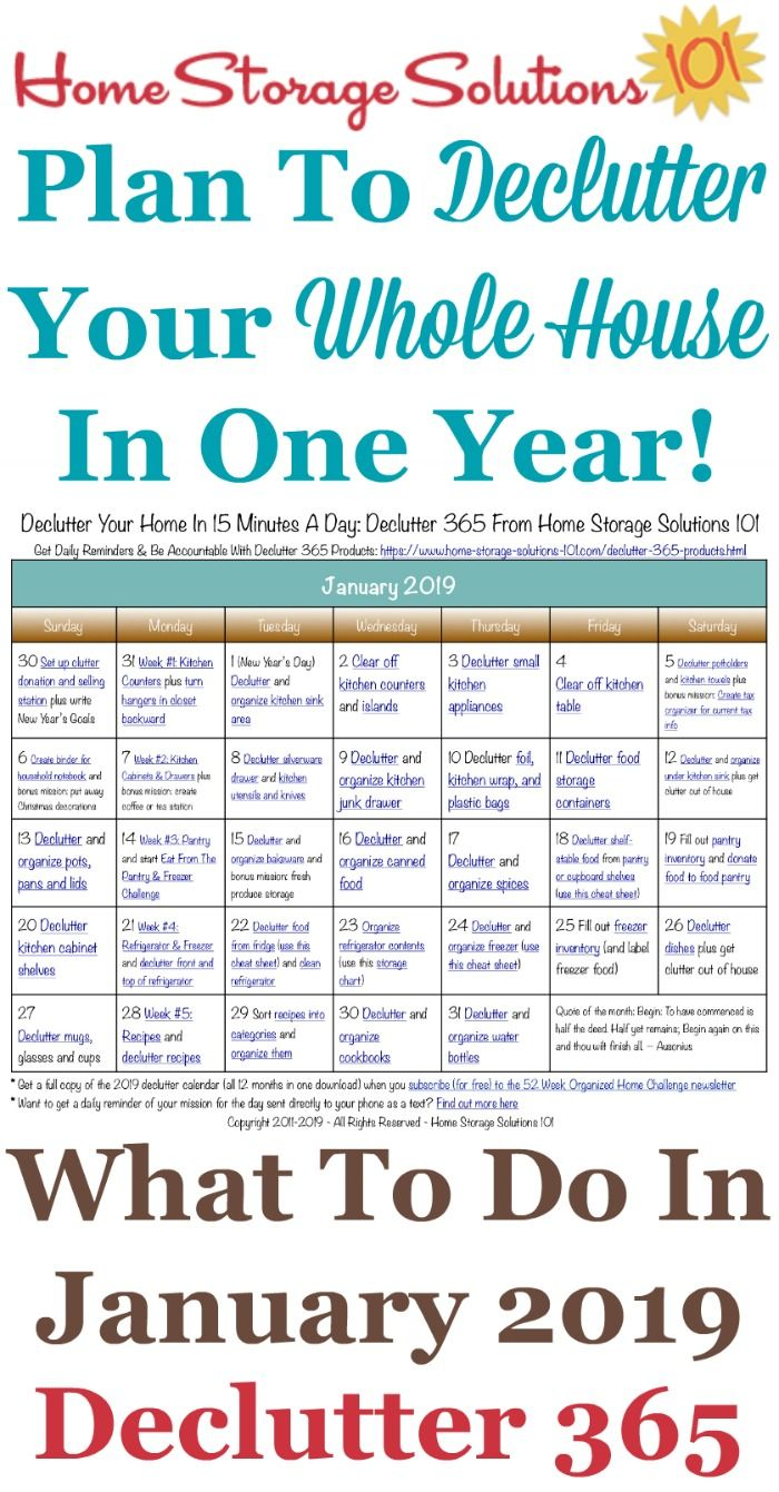 January 2019 Declutter Calendar January Declutter Calendar: 15 Minute Daily Missions For Month in