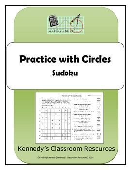 """In this worksheet, students will practice circles in a fun Sudoku puzzle. They will practice finding the center and the radius of circles when in center-radius form and in general form. When in general form, students will need to """"complete the square"""" to convert to center-radius form."""