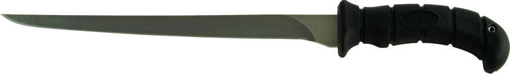 "KA-BAR 1451CP - This fillet knife is constructed with a 440A stainless steel  9"" blade which has been hollow ground sharpened to a razors edge. The knife's ergonomically shaped handle is constructed of black Kraton G elastomer providing outstanding grip and control even in wet conditions. Knife is manufactured exclusively in the U.S.A. at Olean, New York and is proudly branded with the KA-BAR name. The HRC hardness rating on this fish fillet knife is 55-57. www.tomarskabars.com"