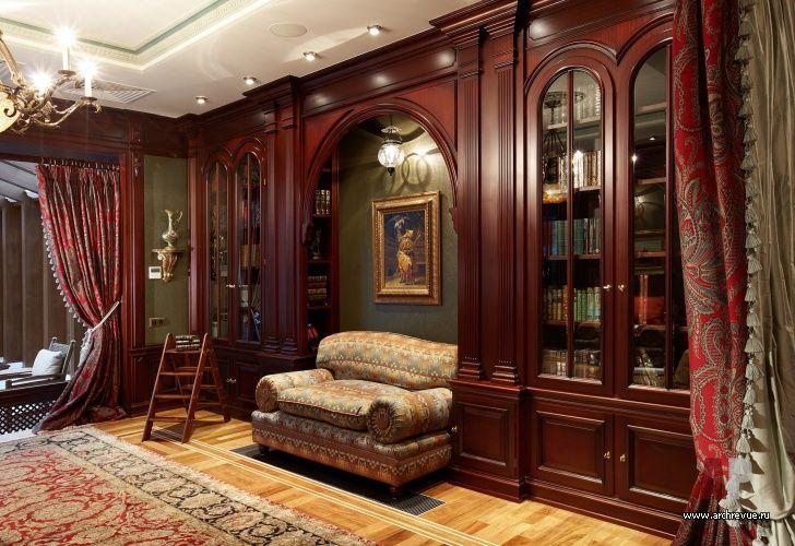 Фото интерьера библиотеки дома в английском стиле