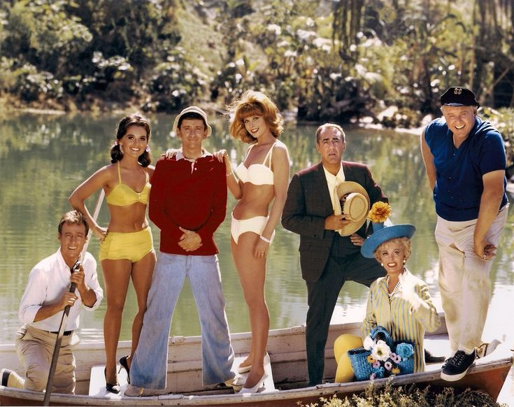 Gilligan's Island (1964–1967) cast: left to right: Russell Johnson (Professor), Dawn Wells (Mary Ann), Bob Denver (Gilligan), Tina Louise (Ginger Grant), Jim Backus (Thurston Howell 3rd), Natalie Schafer (Mrs. Lovey Howell), Alan Hale Jr. (The Skipper), peelsmaerd, roy duane wilson,