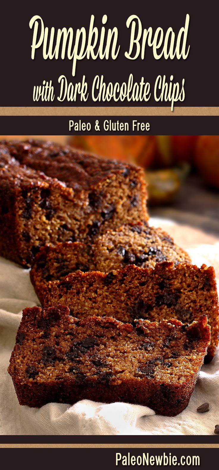 Rich pumpkin taste, moist and delicious, with dark mini chocolate chips…incredibly good and easy to make! (For strict paleo, substitute nuts for the chips.) #paleo #glutenfree