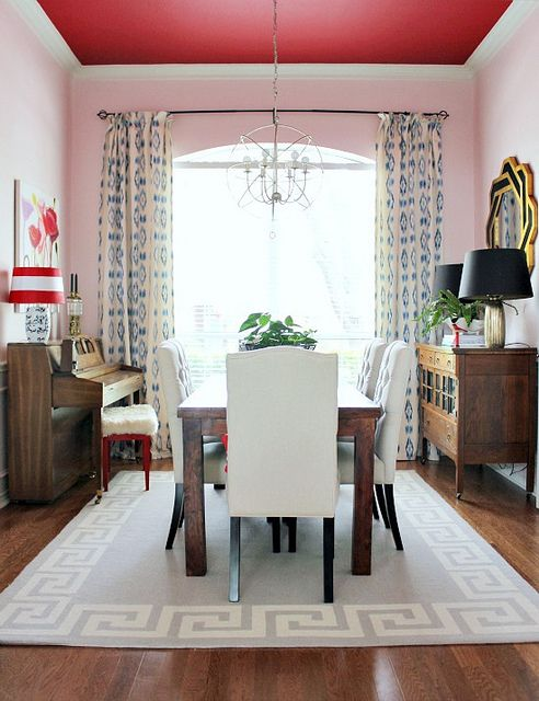 Love this pink wall/red ceiling dining room by Hi Sugarplum! Ceiling is Sherwin Williams Showstopper and the walls are Sherwin Williams Verbena.