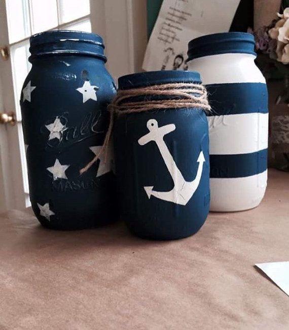 Pots+Mason+nautique+par+RusticLola+sur+Etsy