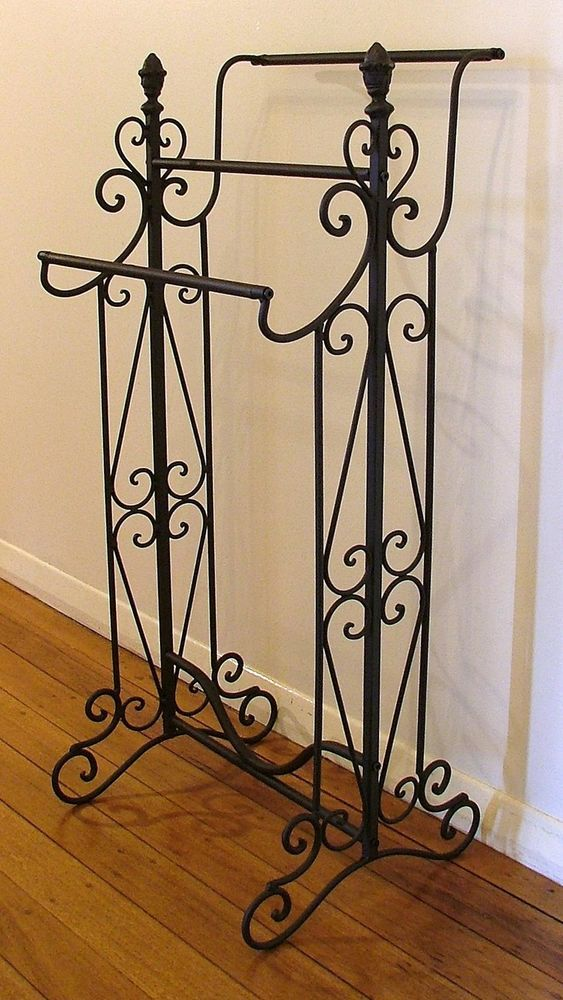 Wrought Iron Towel Rack - Floor - Black /Brown - Medium 40cm Wide - BA43