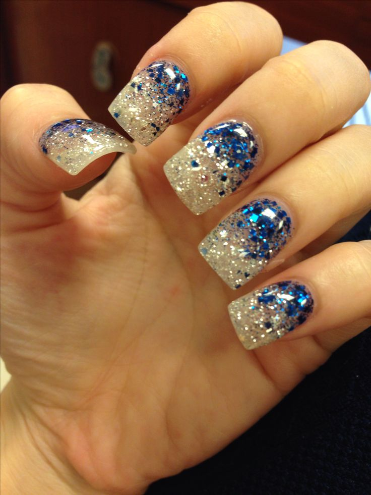 My Blue glitter faded acrylic nails