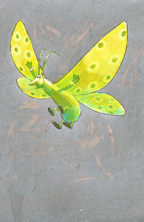 Titel: thema- Dieren rond de woning - Vlinder  Kunstenaar: Aleksandr Vakhrmejev  Afm.: 20 br. x 28 cm hg.   Techniek: waterverf op papier. Collectie Postersquare