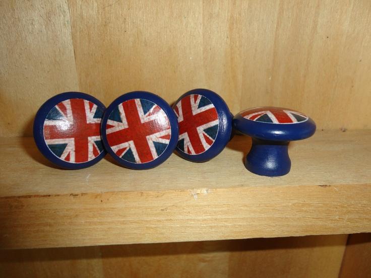Union Jack/British Flag 1-1/4 inch Round Wooden Drawer Pulls /  Drawer Knobs (Set of 4). $20.00, via Etsy.