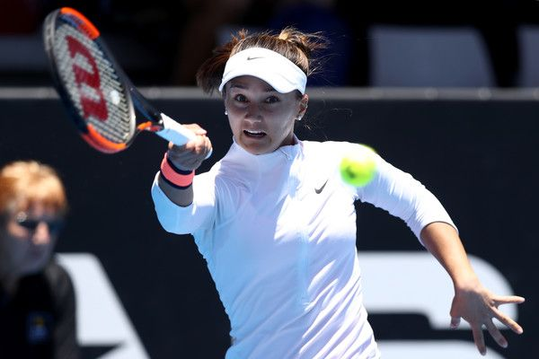 Lauren Davis Photos Photos - Lauren Davis of the USA plays a return against Barbora Strycova of the Czech Republic during day four of the ASB Classic on January 5, 2017 in Auckland, New Zealand. - ASB Classic - Day 4