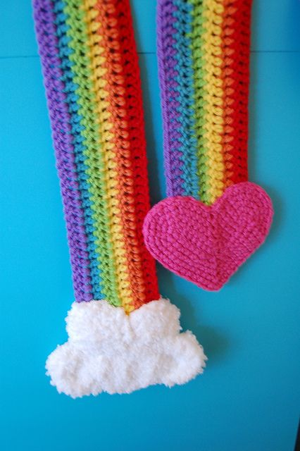Crochet Rainbow Heart scarf