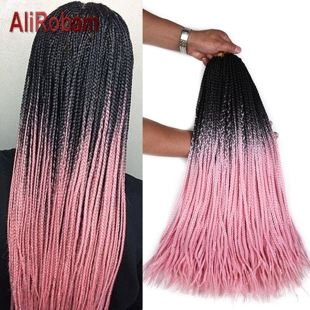 Alirobam Crochet Braids Hair Extensions Pure Or Black Pink Purple