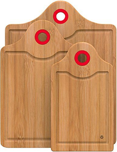 vremi 3 piece bamboo cutting board set wooden cutting boards for kitchen with storage handle