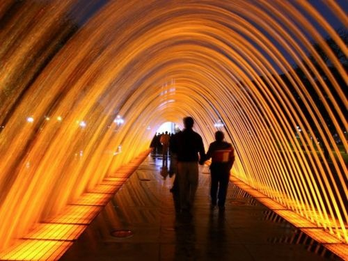 [Lighted Water Fountain Tunnel, Lima, Peru] #travel