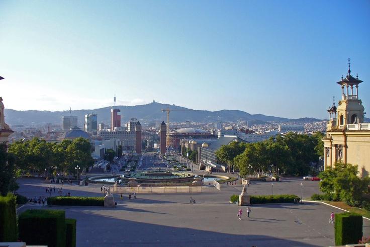 View of Barcelona from Montjuïc hill, Spain