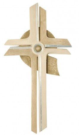 Wandkreuz modern Holz, gebeizt silberstrich 30 cm