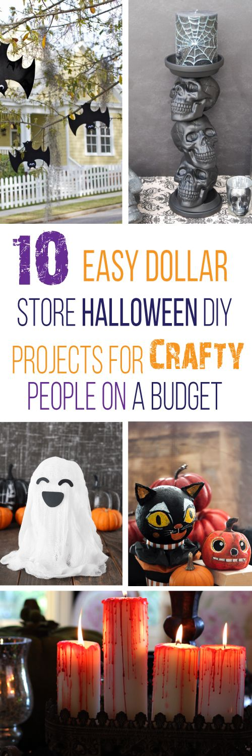 These 10 easy Dollar Store Halloween decorations are THE BEST! I'm so glad I found these GREAT ideas! Now I have some good dollar store Halloween DIY decor projects. Definitely pinning!