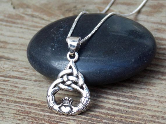 Claddagh Necklace, Claddagh Pendant, Claddagh Charm, Sterling Silver Claddagh, Celtic Jewelry, Celtic Knot, Irish Jewelry, Gifts, Triquetra
