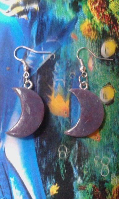 Purple Moon Earrings - Cold porcelain clay