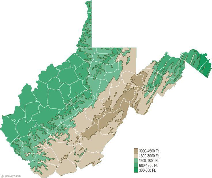 WV Elevation Map: