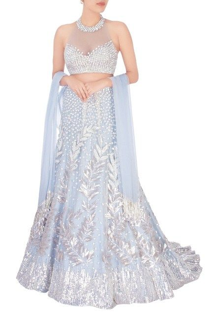 Ice blue lehenga perfect for a roka or engagement by Manish Malhotra. Prices on the blog. #Frugal2Fab