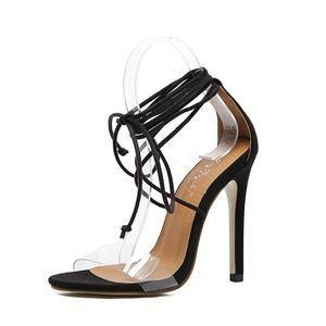 Black Ankle Lace Stiletto Transparent Front Heels