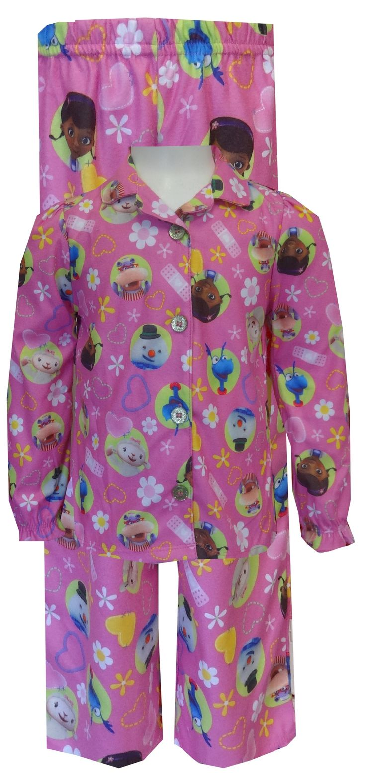 Disney Doc McStuffins Button Front Toddler Pajama Set The doctor is in and she is adorable! These flame resistant pajamas for t...