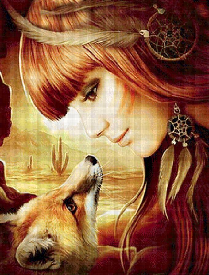 Девушка и лиса - Схемы вышивки - Лика2 - Авторы - Портал «Вышивка крестом»