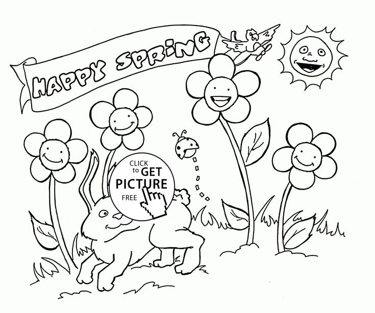Happy Animals And Plants Spring Coloring Page For Kids Seasons Pages Printables Free