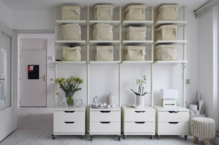 Shelving and storage in one color creates a more cohesive look