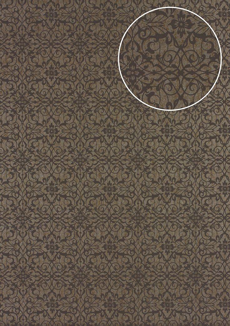 Details Zu Atlas PRI 894 1 Barock Tapete Ornament Glänzend Beige Braun Grau  5,33 M2