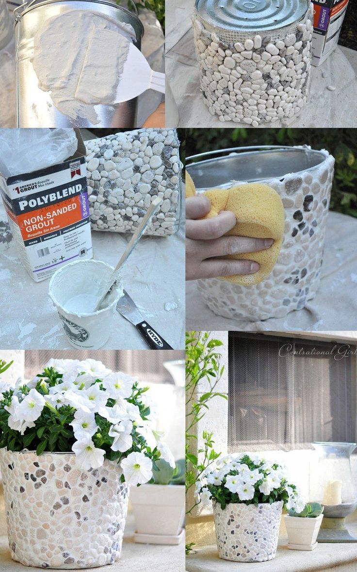 Making a flower pot: So, we take cement …