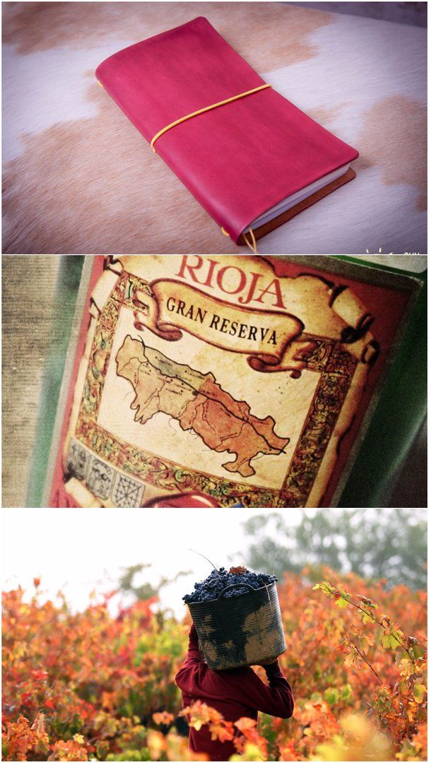 "Traveler's notebook ""La Rioja"" takes name from our journey around nothern part of Spain. La Rioja is an autonomous community and a province in Spain, located in the north of the Iberian Peninsula. La Rioja produces some of the world's finest wine red. The region is covered with vineyards and wine is one of the main sources of industry here. This traveler's notebook has pretty winery color that reminds me so much twinkling lights in a cup of the best Rioja wine...  Записная книжка ""La Rioha""…"