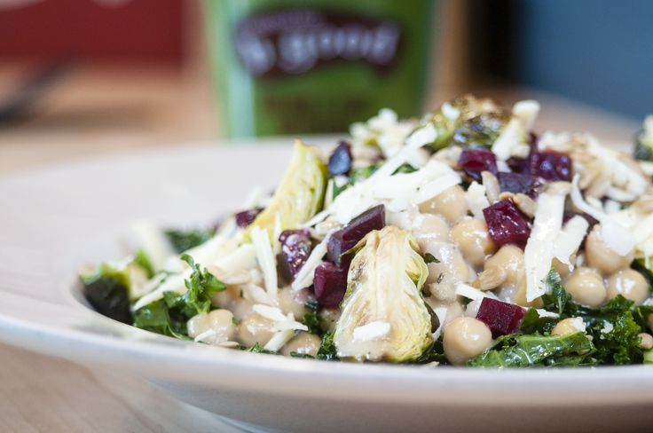 HARVEST KALE: marinated kale, brussels sprouts, manchego cheese local cheddar, sunflower seeds, beets, garbanzos, sherry vinaigrette