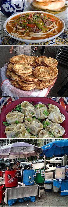 Kyrgyzstan (from the top): Lagman ~ Lepeshki (Tandir Bread) ~ Manti (Meat Dumplings): all of them are super!!!