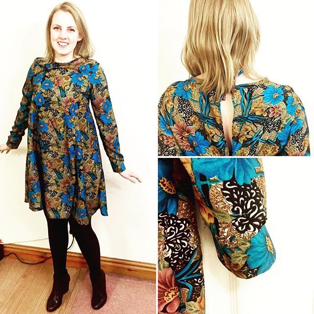Here is my brand new Sew Over It Nancy Dress in this absolutely stunning vintage print poly-viscose. Hot off the sewing machine last night thanks to the fab PDF Club. I extended the sleeves and added a cuff- can't resist a pattern hack!