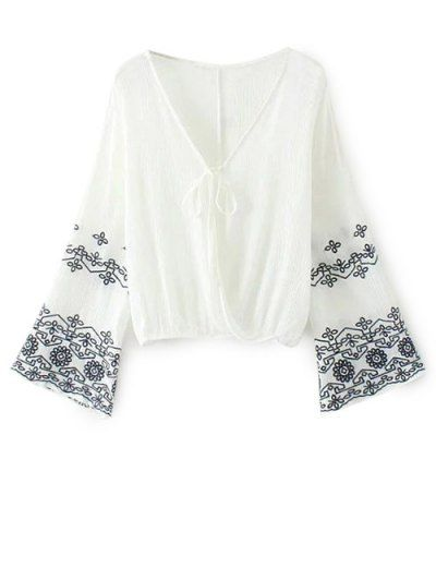 SHARE & Get it FREE | Embroidered Loose Surplice Blouse - WhiteFor Fashion Lovers only:80,000+ Items • New Arrivals Daily Join Zaful: Get YOUR $50 NOW!