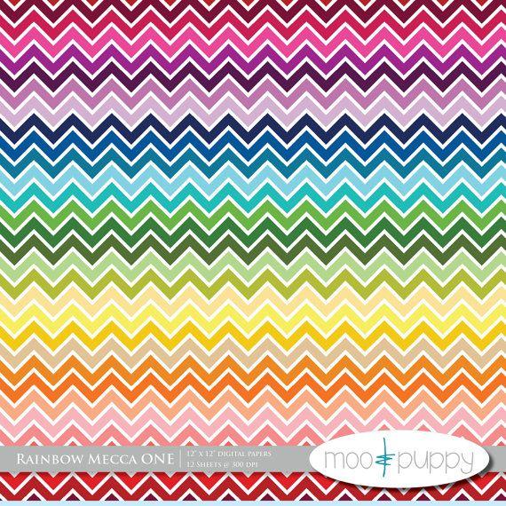 Classroom Rainbow Ideas ~ Rainbow chevron digital paper moo puppy