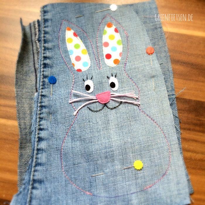 Mini-Tutorial und Freebie   Bunter Osterkranz mit Hoppelhase aus Jeans