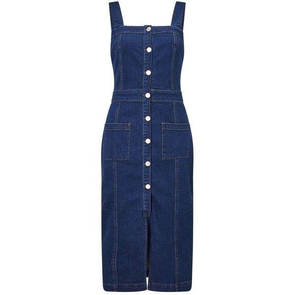 Miss Selfridge Split Front Denim Midi Dress ($40) ❤ liked on Polyvore featuring dresses, denim, blue sleeveless dress, calf length dresses, midi dress, midi body con dress and denim midi dress