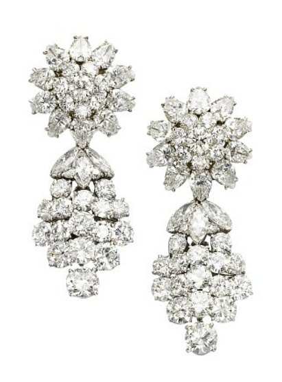 A PAIR OF DIAMOND EAR PENDANTS, BY VAN CLEEF & ARPELS   Each detachable pendant designed as a marquise and brilliant-cut diamond cascade, to the diamond floral cluster surmount, 5.0 cm long, with French assay marks for platinum and gold  Clips signed Van Cleef & Arpels, no. 74724