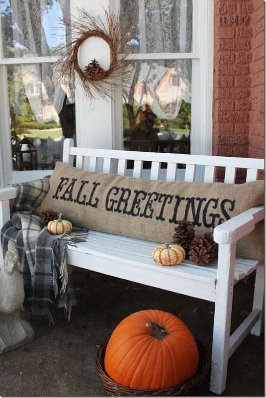 DIY Fall Greetings Burlap Pillow from SettingforFour.com #autumn #porch