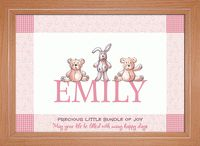 Teddies and Bunnies – Perfectly Pink Personalised Childrens Name Picture   This cute picture is sure to brighten up any little girl's nursery. Children love to see their own name in print and this will help them begin to recognise it. You can personalise this picture with your child's name and two unique messages. You can buy this Children's Name Picture from just £16.50.