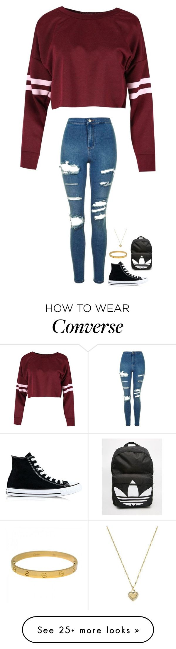 """Untitled #373"" by jasmine2001 on Polyvore featuring Topshop, Converse, adidas, Cartier and Michael Kors"