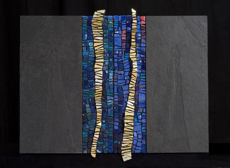 "Saatchi Online Artist: Dino Maccini; Glass, Mosaic """"Blu ardesia"""""