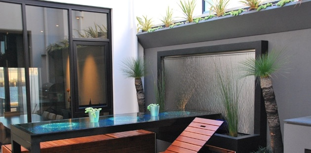 Water Feature In Small Internal Courtyard Wall