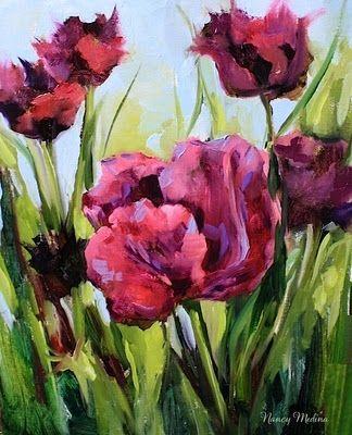 Queen of the Night Black Tulips of the Dallas Arboretum by Texas Flower Artist Nancy Medina, painting by artist Nancy Medina