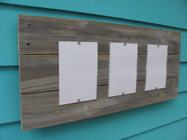 Recycled wood picture frame, three 5 by 7 windows, wooden frame, customizable. $48.00, via Etsy.