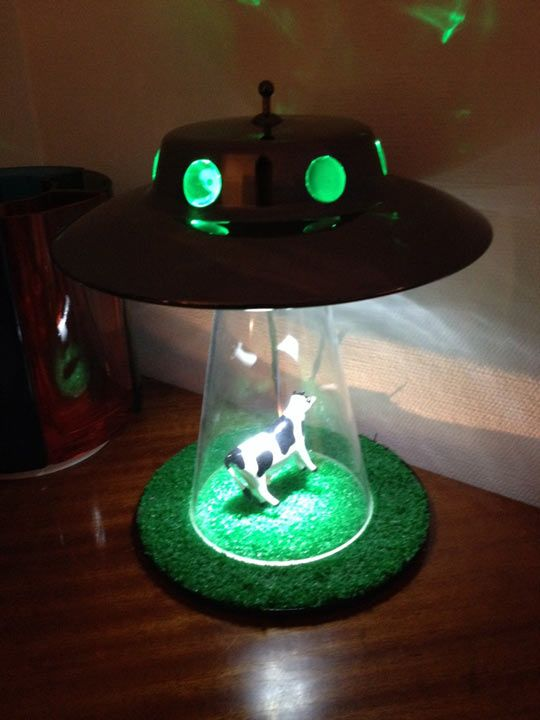 Cow getting abducted by aliens lamp… yes dad
