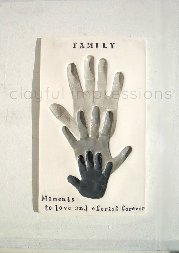 Family Personalized gift of their handprints by Dprintsclayful